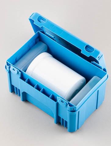 MFU-& Abortmaterial-Dose mit Pendel-Versandbox